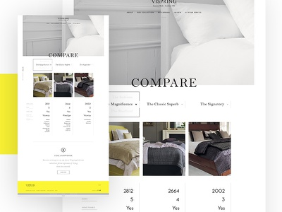 Vispring - Comparison Module minimal clean luxe classy interface onepage ui ux flat home webdesign design