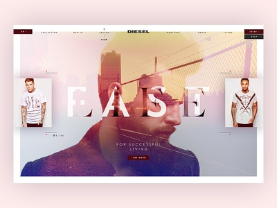 Diesel™ - Season Men Store menu one page typography diesel flat store ux ui minimal fashion webdesign