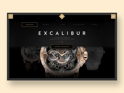Roger Dubuis - Collection swiss luxury webdesign minimal ui ux store flat navigation menu watch