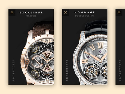 Roger Dubuis - Watches Cards webdesign minimal ui ux store flat navigation menu luxury watch swiss