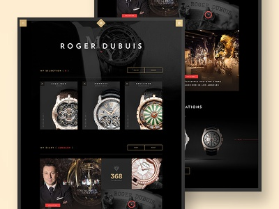 Roger Dubuis - Personal Diary webdesign minimal ui ux store flat navigation menu luxury watch swiss