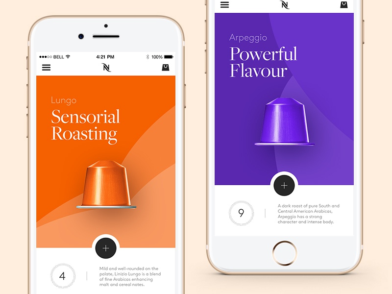 Nespresso — Mobile App designed by Steve Fraschini. Connect with them on Dribbble; the global community for designers and creative professionals. Working on an elegant approach of a Nespresso app showcasing the different coffee flavours.