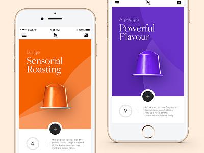 Nespresso — Mobile App ui purple iphone ux orange minimal elegant design nespresso mobile app