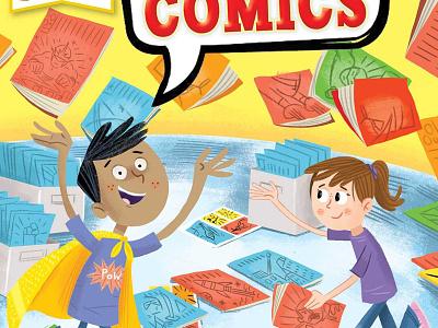 The colorful Story of Comics kids art super heroes children book comics comic illustration