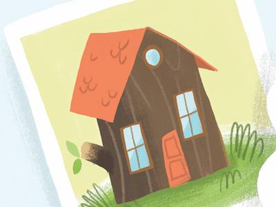 Log House log house editorial illustration