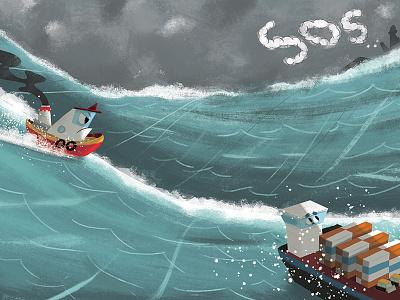Tough Tug Storm ocean water boat digital illustration