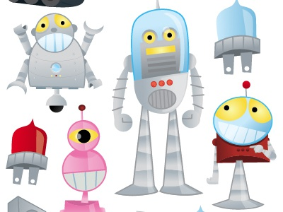 Robots scrapbooking robots vector illustration cartoon stickers humor