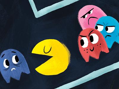 Pacman pacman rebound fanart arcade game blue red digital illustration illustration