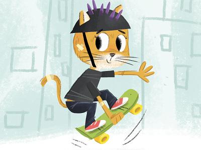 Skateboarding Cat character development cartoon illustration character skateboarding skate cat