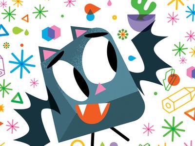 Dingybat freelance vector halloween bats cactus dingbats illustrationart illustration