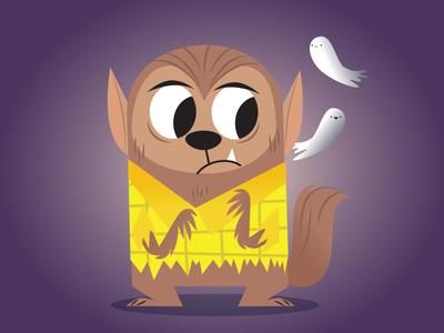 Scaredy-Cat-Wolfman illustration cartoon art illustrator digital vector wolfman halloween characterart character design freelance
