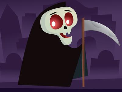 Grim Reaper blacks purples character design characters art illustrator halloween character texture digital vector illustration