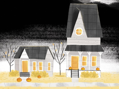Happy Halloween haunted house pumokins limited color palette midcentury illustration halloween design