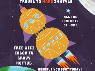 Travel to Mars space art spaceage space texture digital vector illustration rocketship rockets