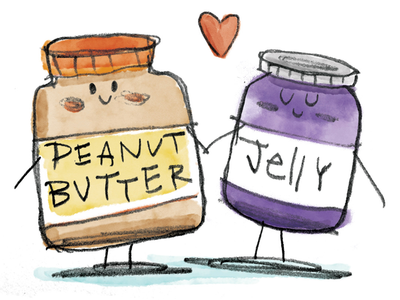 Classic Combinations illustration sketch jelly peanut butter watercolor
