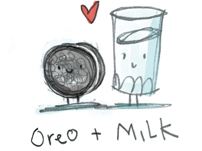 Classic Combinations - Oreos and milk pencil drawing sketch watercolor friendship love oreo cookie milk valentines