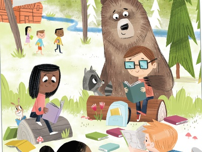 Camp Read S'More summer camping poster design poster illustration