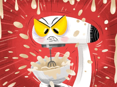 Max The Mad  Mixer mixer appliance kitchen angry character design digital illustration
