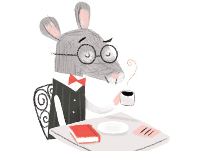 Mouse Cafe digital minimal coffee illustration limited color cafe mouse