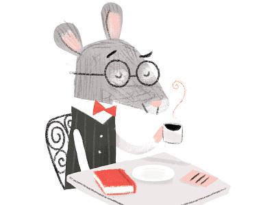 Mouse Cafe digital minimal coffee illustration limited color cafe mouse