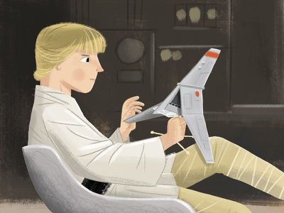 Luke Skywalker with his T-16 Skyhopper fanart illustration art starwarsday starwars