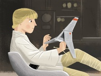 Luke Skywalker with his T-16 Skyhopper