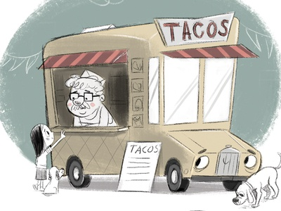 Foodtruck limited color digital art foodtruck illustration