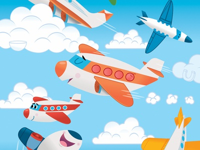 Hidden Picture Art airplanes digital character vector illustration