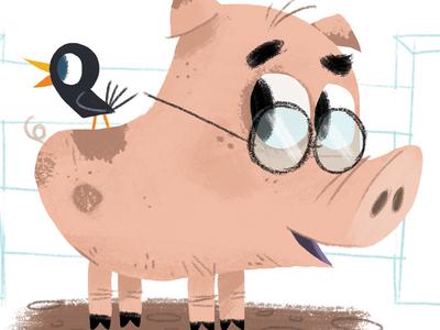 Farmyard Pals animal character mud glasses farm bird crow pig illustration
