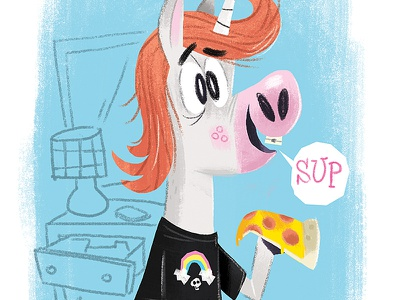 teenage unicorn character illustration teenagers pizza unicorn