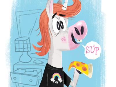 teenage unicorn character illustration teenagers pizza unicorn