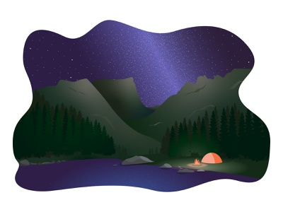 Rocky Mountain National Park rocky mountain forest stars night nature ui campfire milky way park landscape graphics flat design art illustrator flat vector illustration