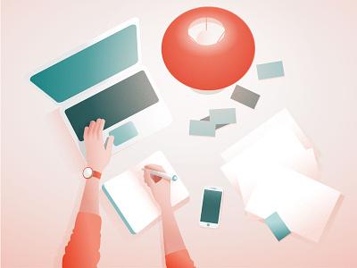 Flat lay design workspace banner design laptop poster illustrator graphics landing page ui flat design flat lay vector illustration