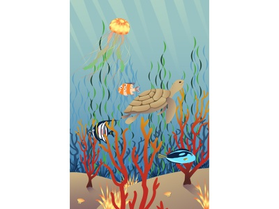 Sea life landscape illustration corals ocean poster jelly fish sea life fishes turtle sea water landscape character design graphics flat design art flat illustrator design illustration vector