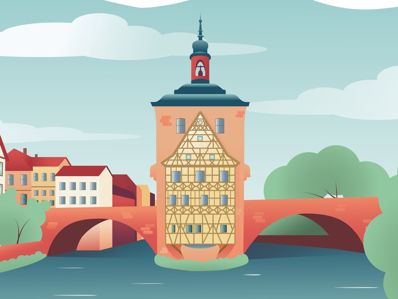 Bamberg germany city guide cityscape poster landscape flat design graphics art design illustration vector