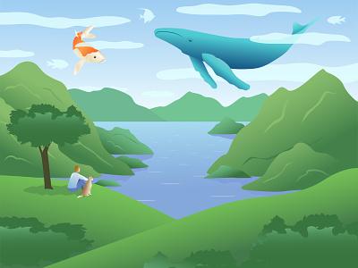 Daydreaming animals character design hills daydreaming fantasy landscape dog whale mountains lake illustrator flat art design illustration vector