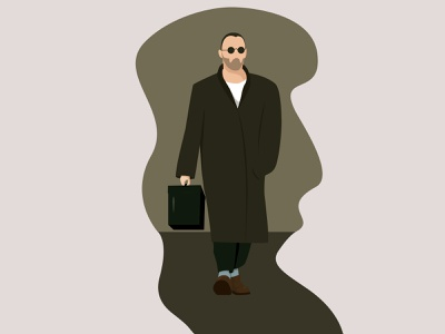 Léon: The Professional poster graphics movie poster movie art leon illustrator art character design flat design vector illustration