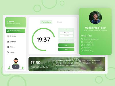 YoPro Web Application timer pomodoro web web design ux app ui design