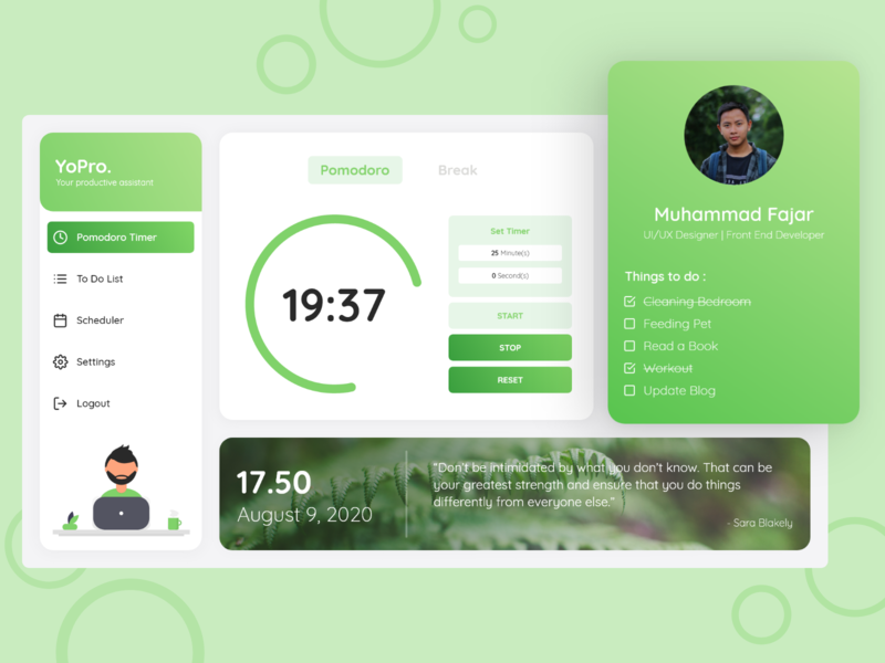 YoPro Web Application timer pomodoro web web design ux app ui design