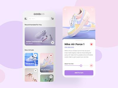 GOOD.CO Store button slider shoes shop ux app ui design