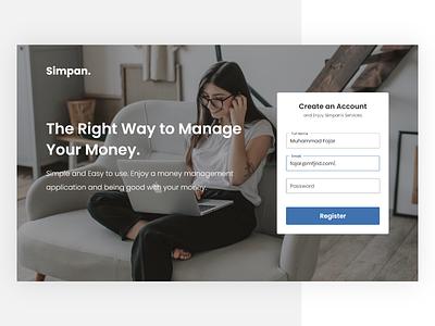 Simpan Money Manager form register web design ux ui design