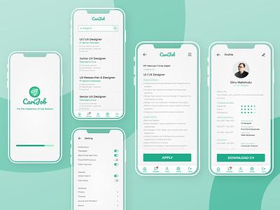 CariJob App details profile notification button ux ui design app
