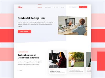 Aidu Landing Page card button web design ux ui design