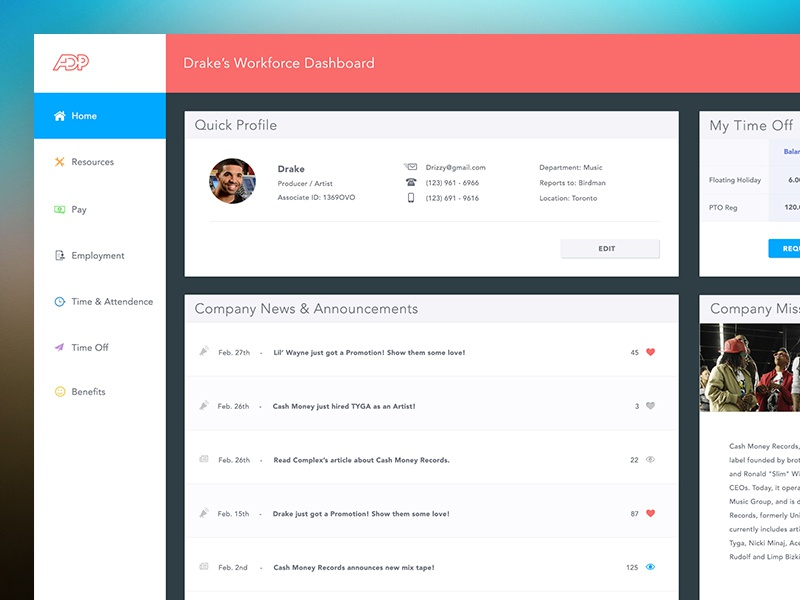 ADP Dashboard Redesign by Stephen Calvillo on Dribbble