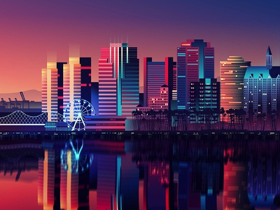 City Scape reflection sunset sky night lights skyline city long beach