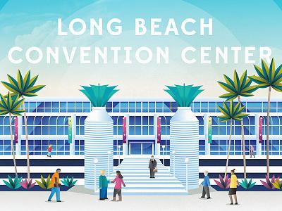 Long Beach Convention Center convention center downtown beach city color texture photoshop vector illustration long beach