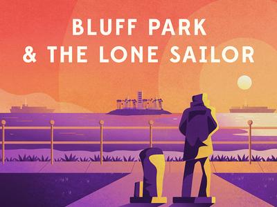 Bluff Park & The Lone Sailor sunset view statue sailor ocean water beach color illustration long beach