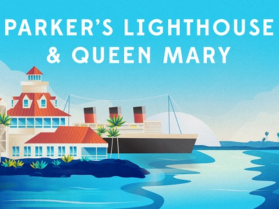 Parker's Lighthouse & Queen Mary lighthouse ship boat queen mary ocean water beach color illustration long beach