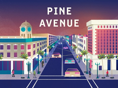 Pine Ave. street city pine ave pine downtown color illustration long beach