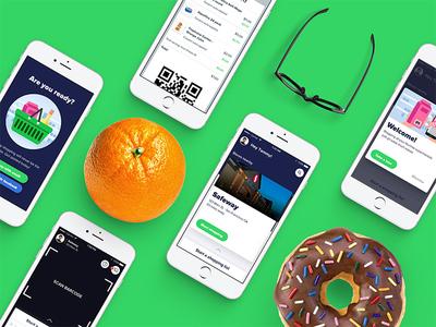 Screens, screens, and more screens! green orange donut iphone screens shopping mobile